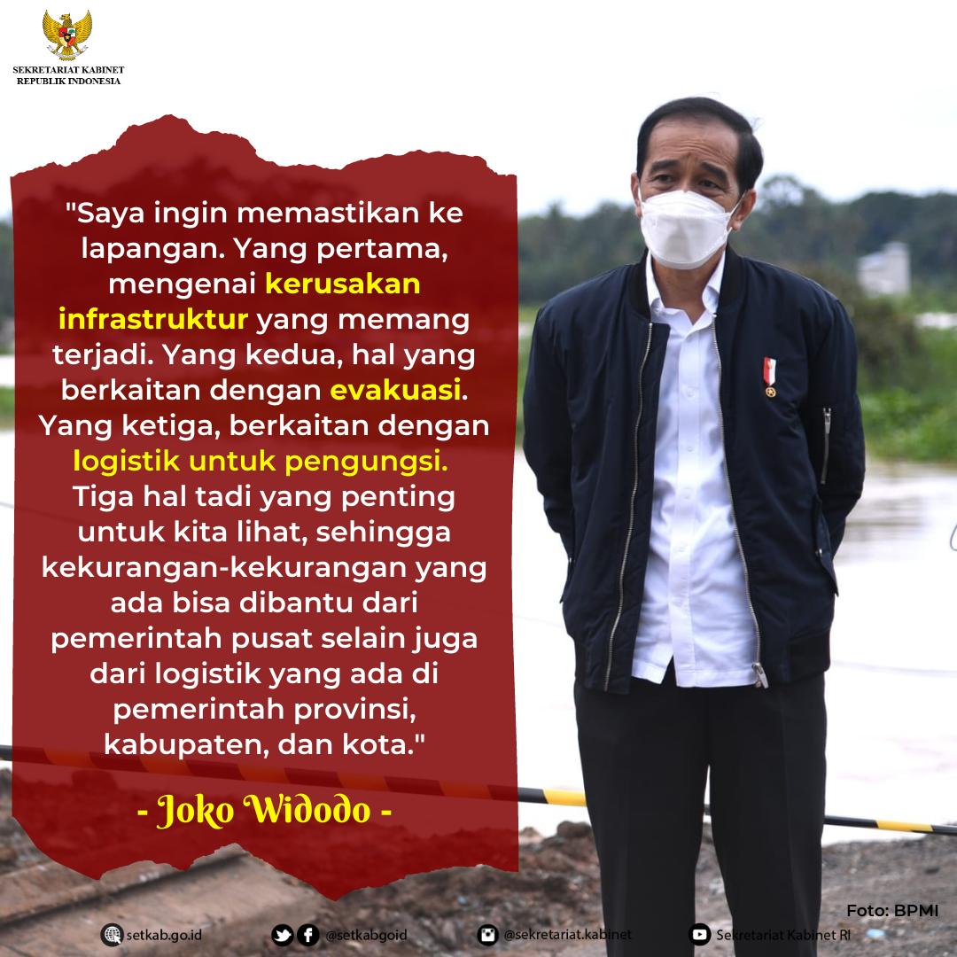 Arahan Presiden RI saat Meninjau Lokasi Terdampak Banjir di Provinsi Kalimantan Selatan, Senin (18/01/21)