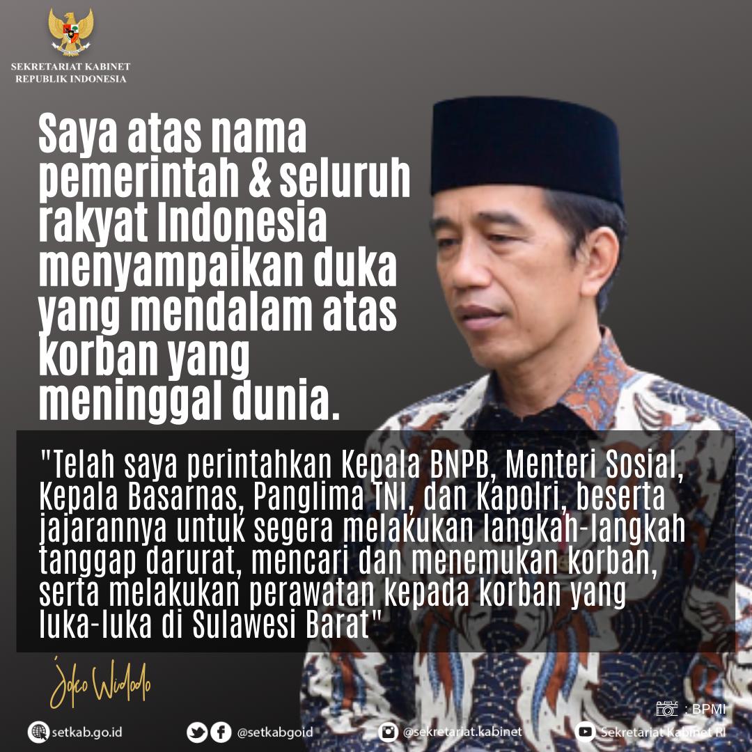 Ucapan Duka Presiden RI kepada Korban Terdampak Gempa di Sulawesi Barat