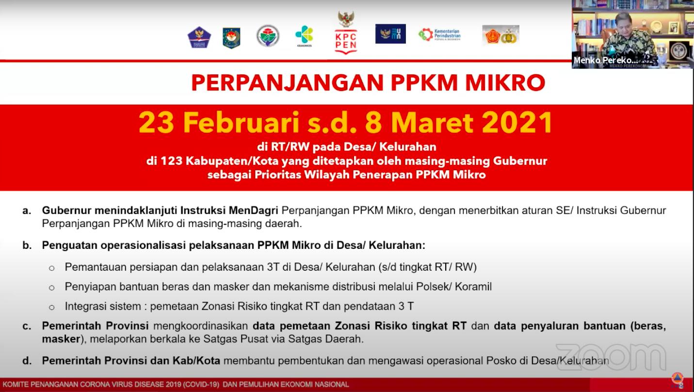 Sebelumnya, Menko Perekonomian Airlangga Hartato memutuskan perpanjangan PPKM Mikro di Pulau Jawa-Bali mulai 23 Februari sampai 8 Maret 2021.