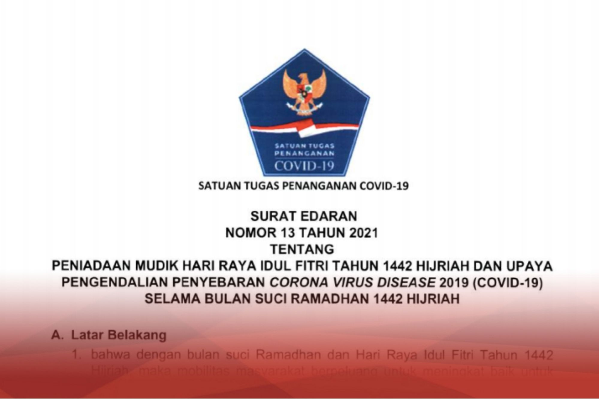 Gov T Issues Circular Of Covid 19 National Task Force On This Year S Mudik Ban