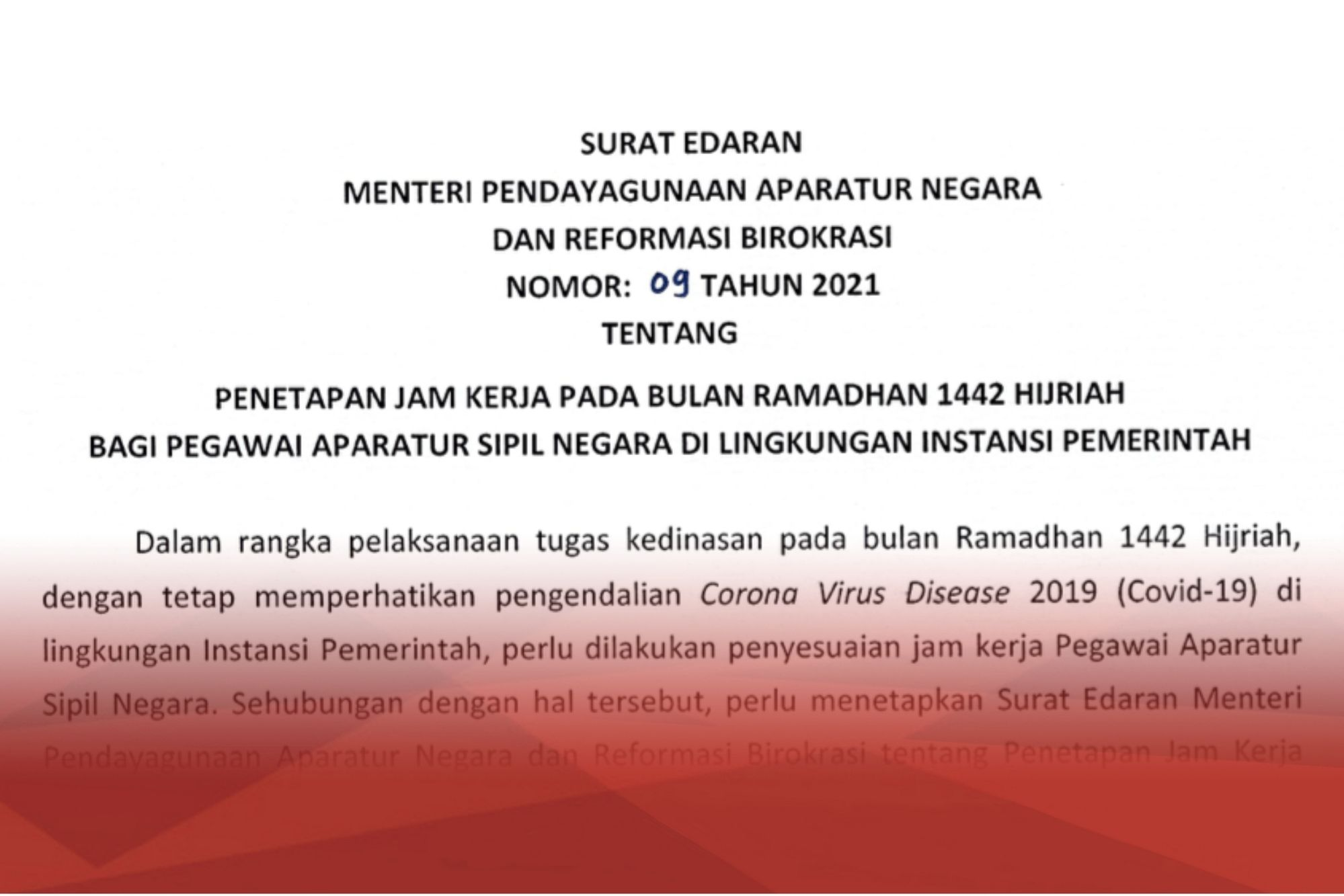 Surat Edaran Menteri PANRB 9 2021